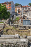 Panorama of Ruins of Roman Odeon in city of Plovdiv. Bulgaria Stock Photography