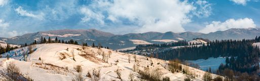 Panorama of rural area in winter Carpathians. Agricultural fields and spruce forests on snowy hillsides. huge mountain ridge in the distance Royalty Free Stock Images