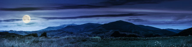 Panorama of rural fields in mountains at night Royalty Free Stock Images