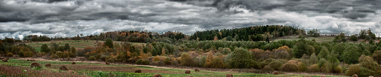 Panorama of Rural Landscape in Autumn Stock Photo