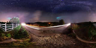 360 panorama of rural roadside at midnight. 360 panorama of a roadside at night with the Milky Way visible Royalty Free Stock Photo
