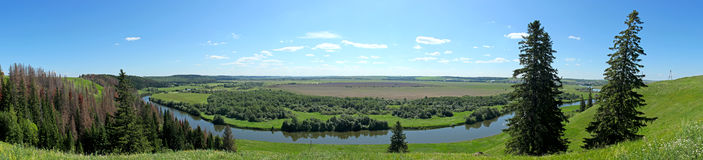 Panorama. Of Russian landscape in summer style Stock Photos