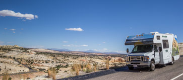 Panorama of an RV along highway 12 in Utah Stock Photography