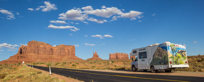 Panorama of an RV in Monument Valley Stock Photos