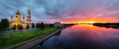 Panorama of Rybinsk on sunset with Volga river. And Savior Transfiguration Cathedral, Yaroslavl Oblast, Russia royalty free stock photos