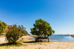 Panorama sławna plaża Georgioupolis wioska w Crete wyspie, Grecja obraz stock