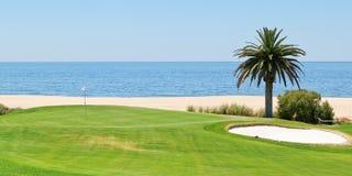 Panorama's van de golfcursus aan het overzees en de palmen. royalty-vrije stock afbeeldingen