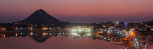 Panorama of Sacred Puskhar lake (Sagar) and ghats of  town Pushk Stock Photos