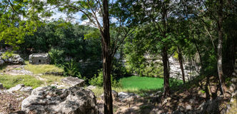 Panorama of Sacrifice Cenote at Chichen Itza ruins. Mayan Cultur Stock Photo