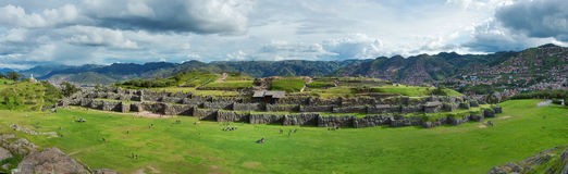 Panorama of Sacsayhuaman, Inca ruins in Cusco, Peru Royalty Free Stock Photo