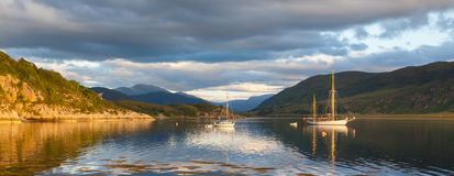 Panorama - Sailboats in a Scottish loch Stock Photo