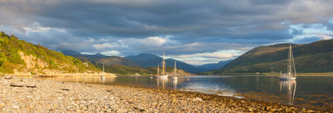 Panorama - Sailboats in a Scottish loch Stock Images