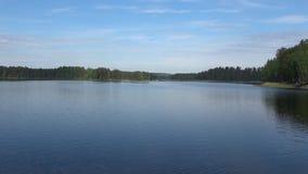 Panorama Saimaa jezioro, Czerwa chmurny wieczór Finlandia zbiory wideo