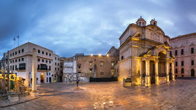 Panorama Saint Catherine of Italy Church and Jean Vallette Piazz Stock Photography