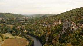 Panorama of Saint-Cirq-Lapopie France Royalty Free Stock Photography
