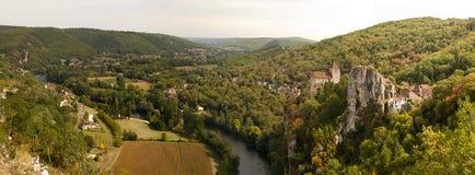 Panorama of Saint-Cirq-Lapopie France Royalty Free Stock Photo