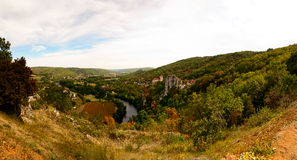 Panorama of Saint-Cirq-Lapopie France royalty free stock photo