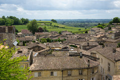 Panorama of Saint-Emilion. Saint-Emilion - one of the main red wine production areas of Bordeaux region, France. The town is a UNESCO World Heritage site royalty free stock image