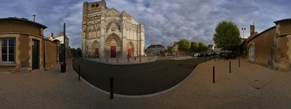 Panorama of the Saint-Etienne cathedral in Auxerre. A 360 cylindrical panorama of the Saint-Etienne cathedral in Auxerre, France Stock Photos