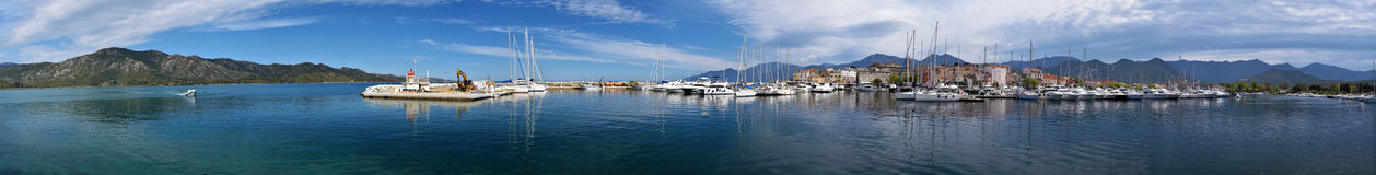 Panorama of Saint-Florent port and Gulf coastline Stock Images