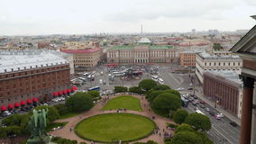 Panorama of Saint Isaac`s Square from Saint Isaac`s Cathedral in the summer stock video footage