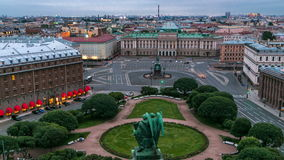 Panorama of Saint Isaac's Square from Saint Isaac's Cathedral in the summer timelapse. St Petersburg. Russia. stock footage