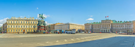 Panorama of Saint Isaac's Square in St Petersburg Royalty Free Stock Photo