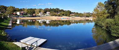 Panorama of Saint-Pee-sur-Nivelle Lake in French Basque Coundry. Panoramic view of Saint-Pee-sur-Nivelle Lake in French Basque Country, Province of Labourd Royalty Free Stock Images