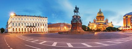 Panorama of Saint Petersburg night city skyline at Saint Isaac Cathedral, Russia.  royalty free stock image