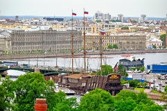 Panorama of Saint Petersburg, Russia from a height with Stock Photo