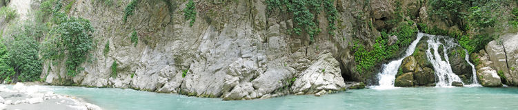 Panorama of saklikent gorge waterfall fethiye Stock Photos