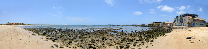 Panorama of the Sal Rei Harbour, Boa Vista, Cabo Verde Royalty Free Stock Photography