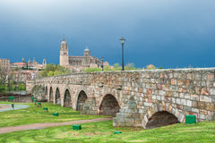 Panorama of Salamanka with Roman bridge, Spain Royalty Free Stock Photography