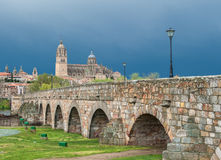 Panorama of Salamanka with Roman bridge, Spain Royalty Free Stock Photos