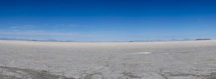 Panorama of the Salar of Uyuni with blue sky, Bolivia Stock Photo