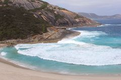 Panorama of Salmon Holes beach in Torndirrup, Albany, Australia Royalty Free Stock Photography