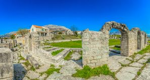 Panorama of Salona old ruins in Dalmatia region, Croatia. Panorama of Salona old ruins in suburb of town Split, popular sightseeing historical spot in Dalmatia Stock Photography