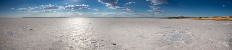 Panorama of salt lake in Turkey Royalty Free Stock Images
