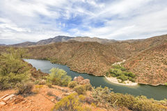 Panorama of Salt River at Apache trail scenic drive, Arizona Royalty Free Stock Photo