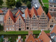 Panorama of the salt stote houses in Lubeck Stock Photo
