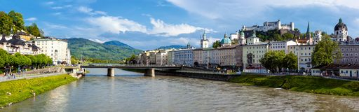 Panorama of Salzburg Old Town Royalty Free Stock Photography