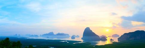 Panorama of Samed Nangshe viewpoint at sunrise, Phang Nga Bay, Thailand Royalty Free Stock Images