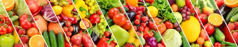 Panorama- samlingsfrukter och grönsaker avskilde den sneda stren Arkivbild