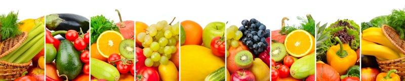 Panorama- samlingsfrukter och grönsaker som isoleras på vitbac Arkivbilder