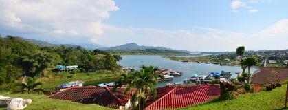 Panorama Samprasob River and Raft House Stock Photos