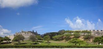 Panorama of San Felipe Castle in Cartagena de Indias. Castillo de San Felipe Stock Photo