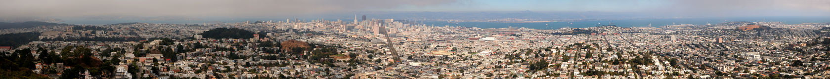 Panorama of San Francisco. Panoramic view of San Francisco as seen from Twin Peaks viewpoint Stock Images
