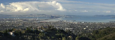 Panorama of San Francisco Bay. Wide angle panorama of San Francisco and San Francisco Bay Royalty Free Stock Photo