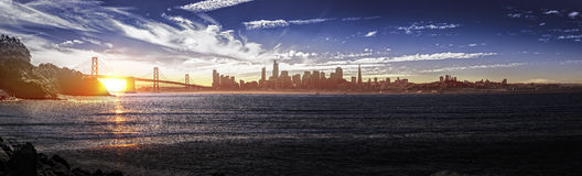 Panorama of San Francisco with Bay Bridge Royalty Free Stock Photography