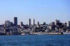 Panorama of San Francisco and Bay Bridge taken from Treasure Island Royalty Free Stock Photo